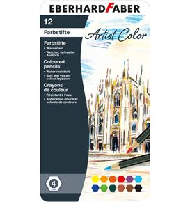 Eberhard-Faber - Artist Color Farbstifte hexagonal, Metalletui mit 12 Farben