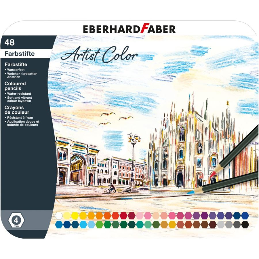 Eberhard-Faber - Artist Color Farbstifte hexagonal, Metalletui mit 48 Farben